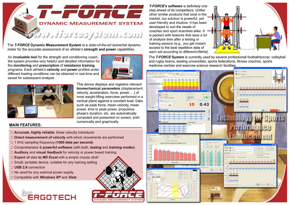 T Force Dynamic Measurement System For Strength Testing Resistance Training